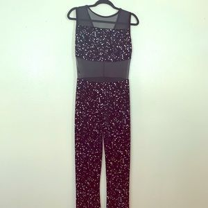 Black velvet jumpsuit with mesh panels!